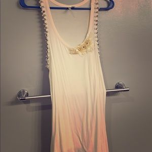 Off white tank with pearls and diamonds